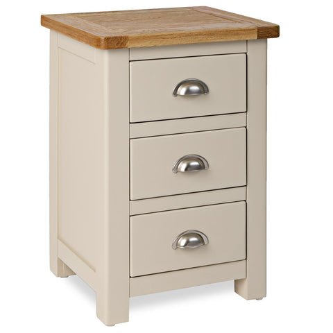 Portland Oak and Painted 3 Drawer Bedside Cabinet