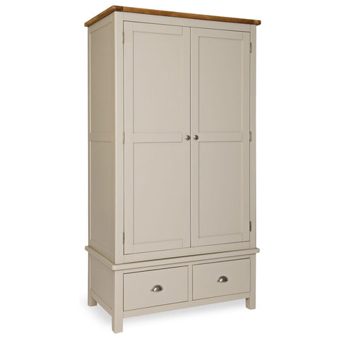 Portland Oak and Painted 2 Door 2 Drawer Wardrobe