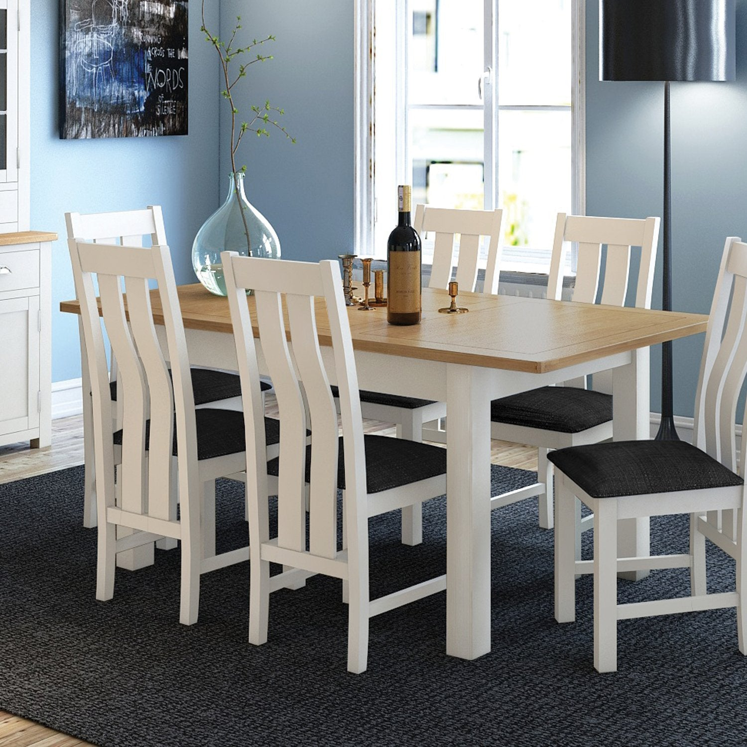 Superb Portland Oak Painted Dining Table 6 Chairs Package Beutiful Home Inspiration Xortanetmahrainfo