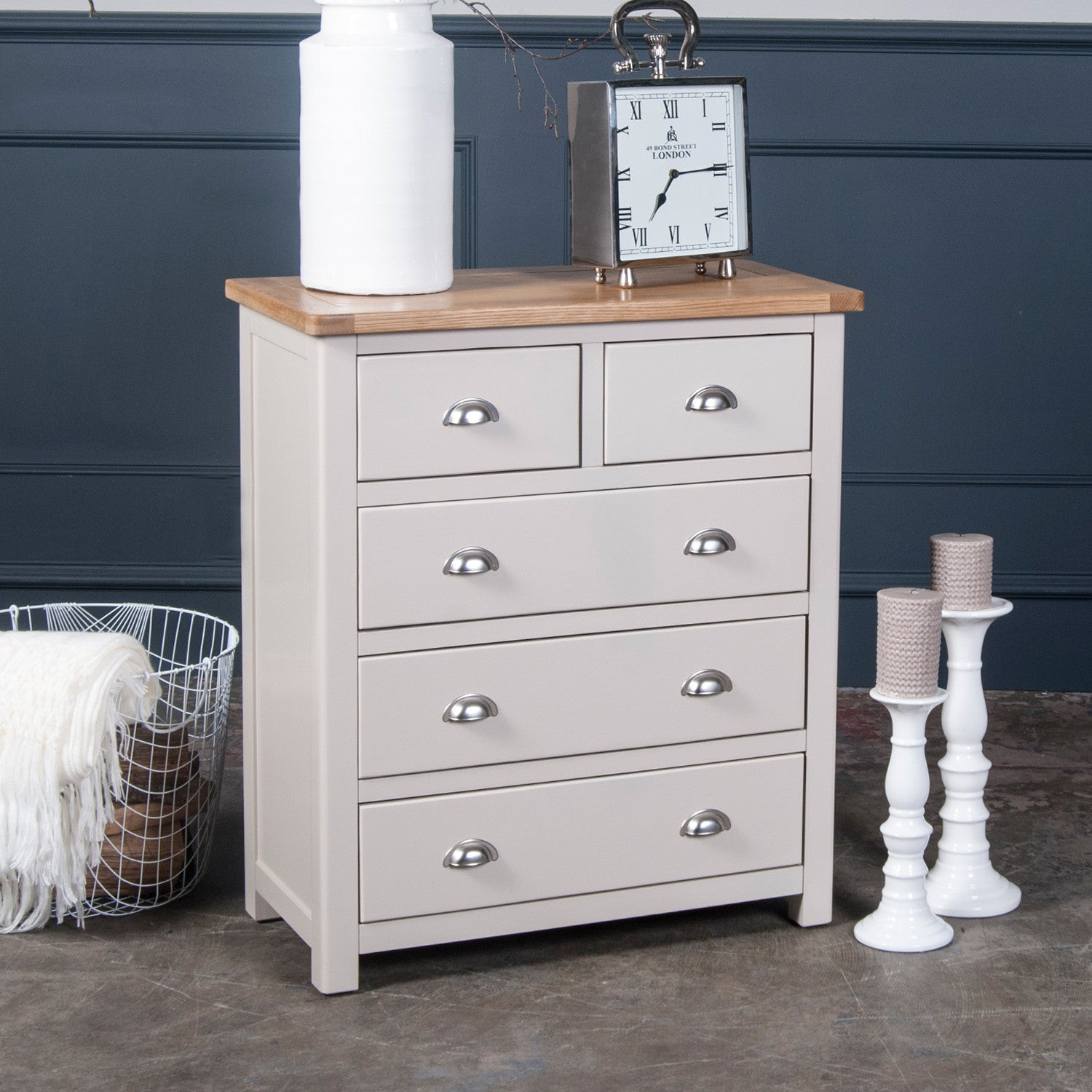 Portland Oak And Painted 2+3 Chest Of Drawers