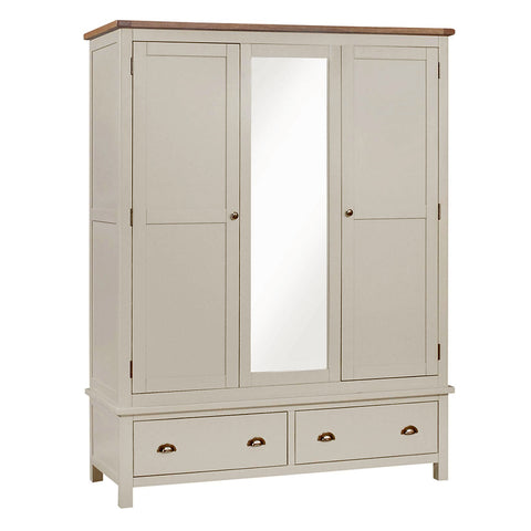 Portland Oak and Painted 3 Door 2 Drawer Triple Wardrobe