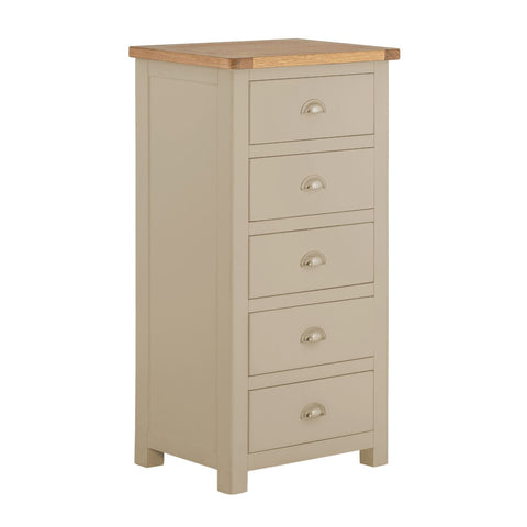 Portland Oak & Pebble Painted Chest of Drawers - 5 Drawer Tall Chest