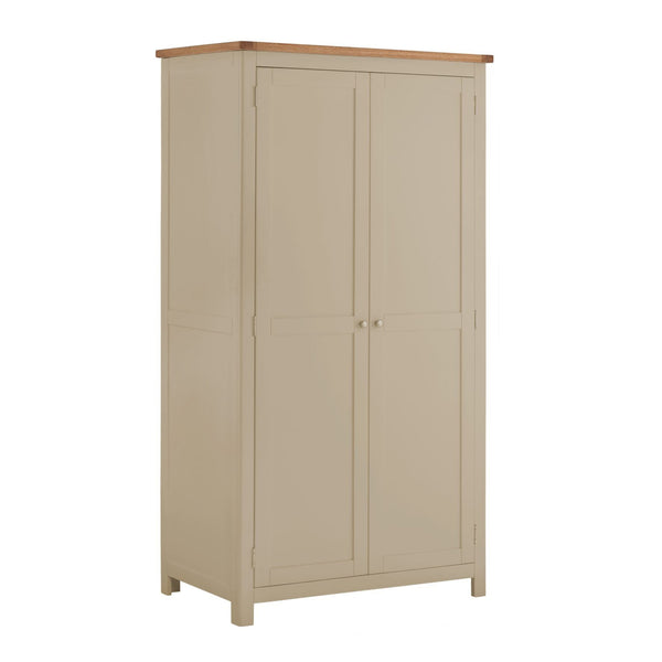 Portland Oak & Pebble Painted 2 Door Wardrobe