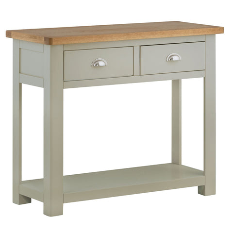 Portland Oak and Painted 2 Drawer Console Table