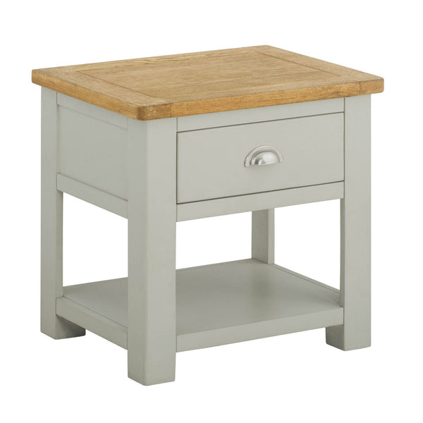 Portland Oak and Painted Lamp Table With Drawer