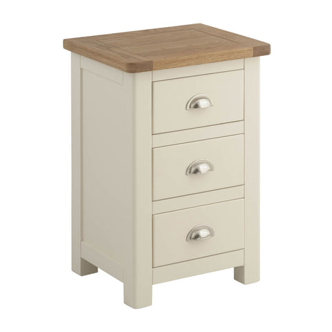 Portland Oak & Cream Painted 3 Drawer Bedside Cabinet