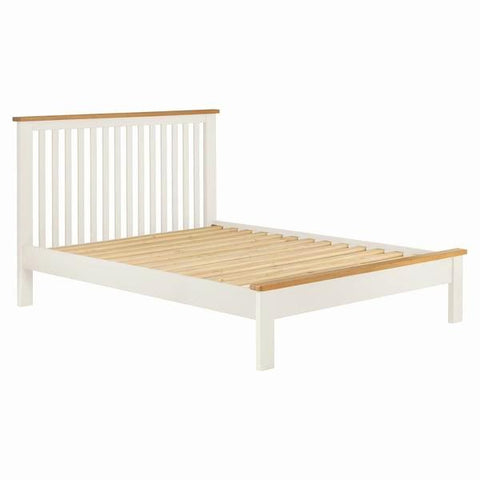 Portland Oak & White Painted Bed - 4ft6