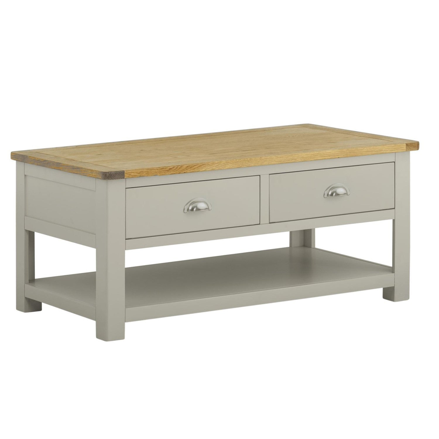 Portland Oak and Painted 2 Drawer Coffee Table