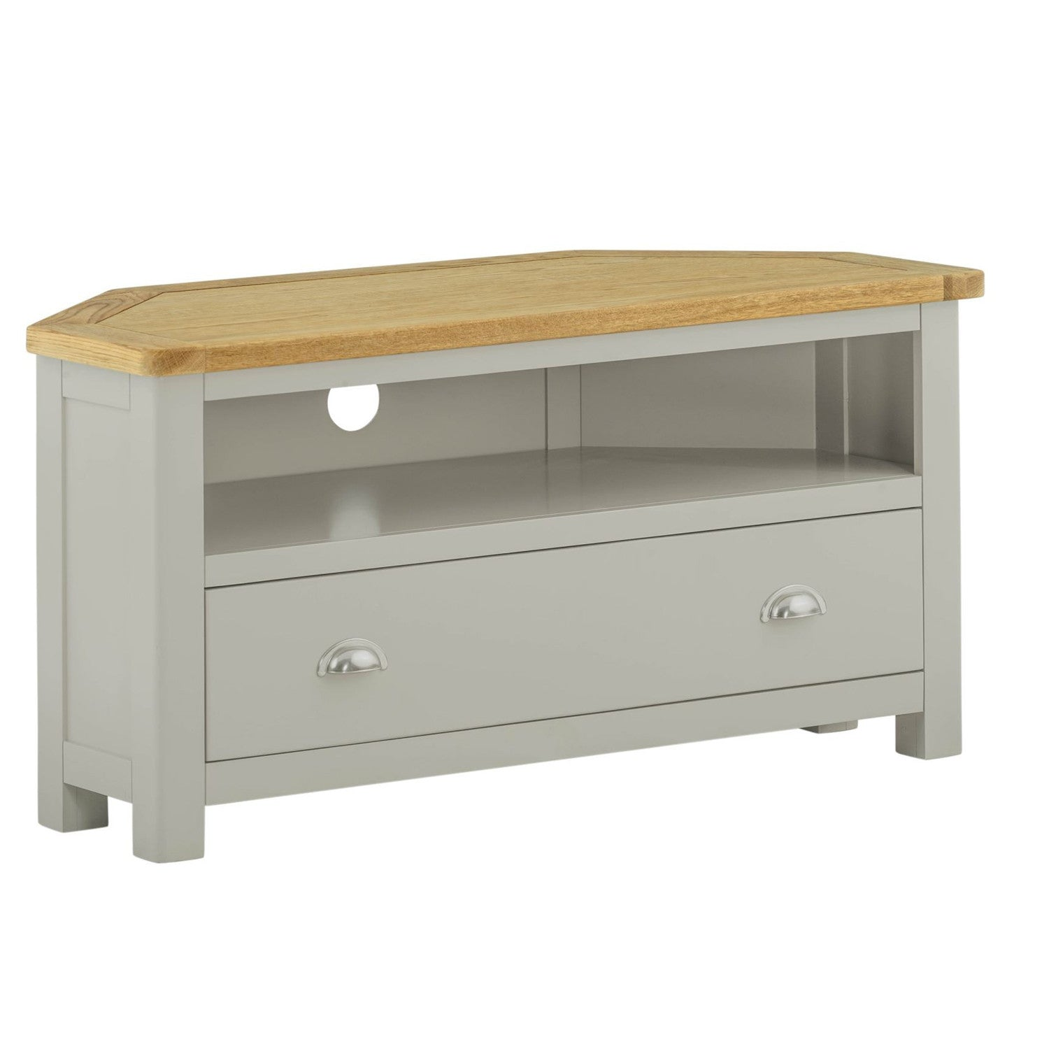 new product bf73f b5bd2 Portland Oak and Painted Corner TV Cabinet