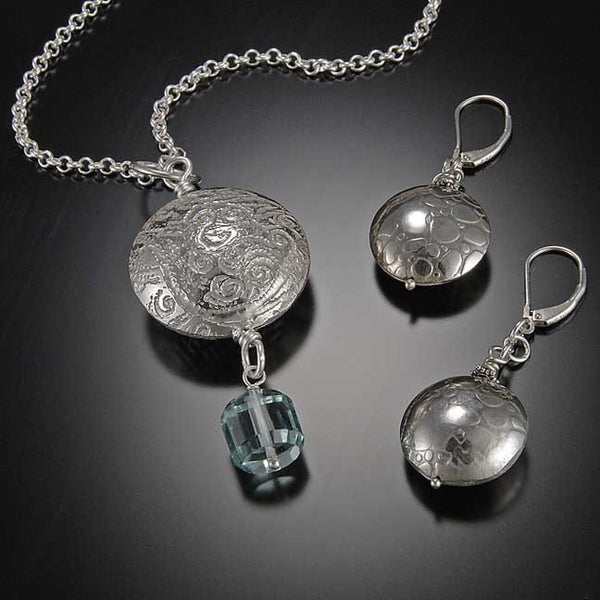 Etched pendant and earrings