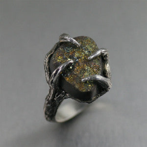 Handmade Sterling Silver Tree Branch Ring Featuring Pyrite