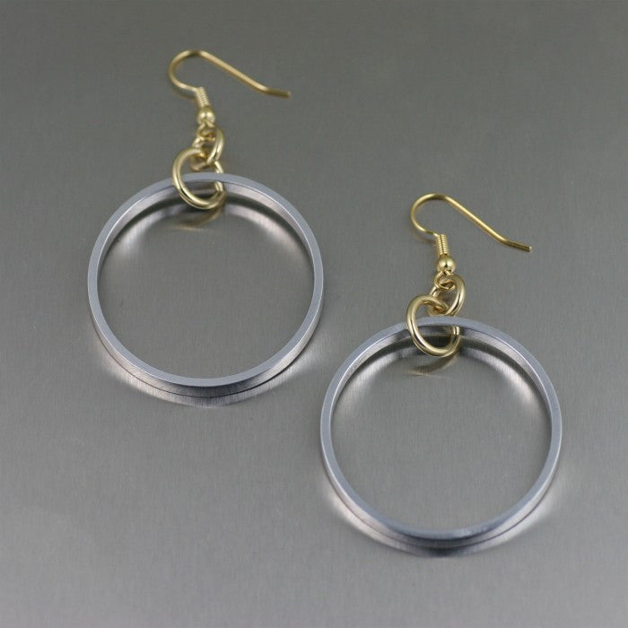 Polished Aluminum Hoop Earrings