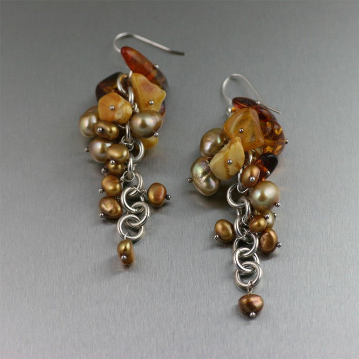 Sterling Silver Amber Chainmail Drop Earrings