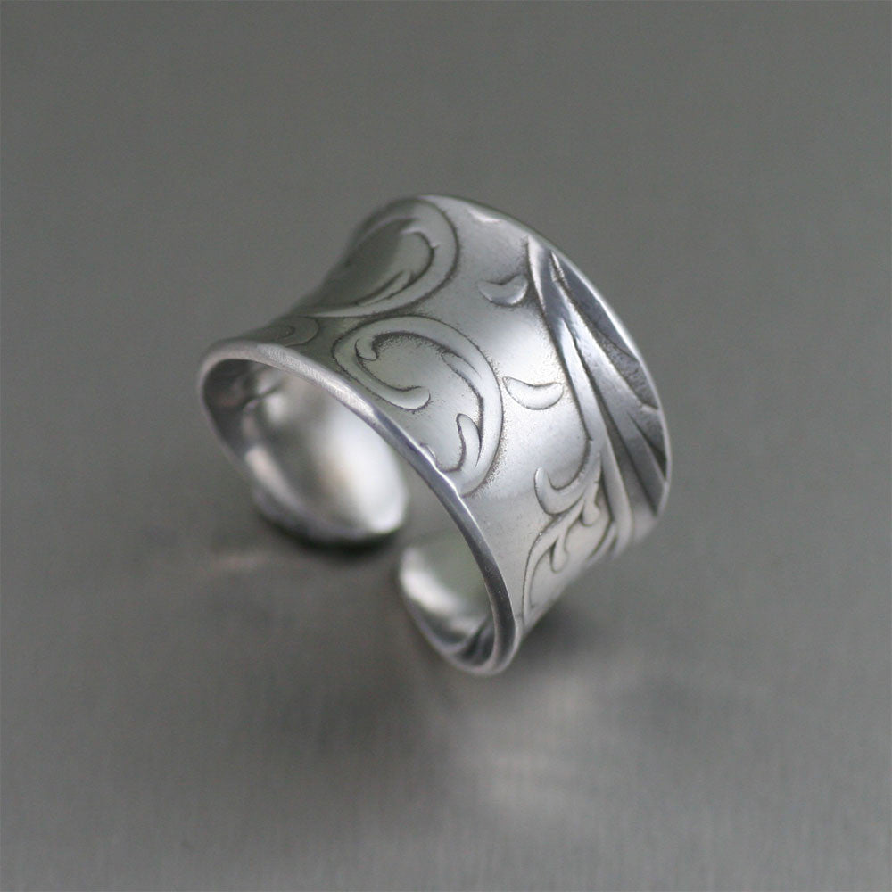 Anticlastic Aluminum Ring with Embossed Vines