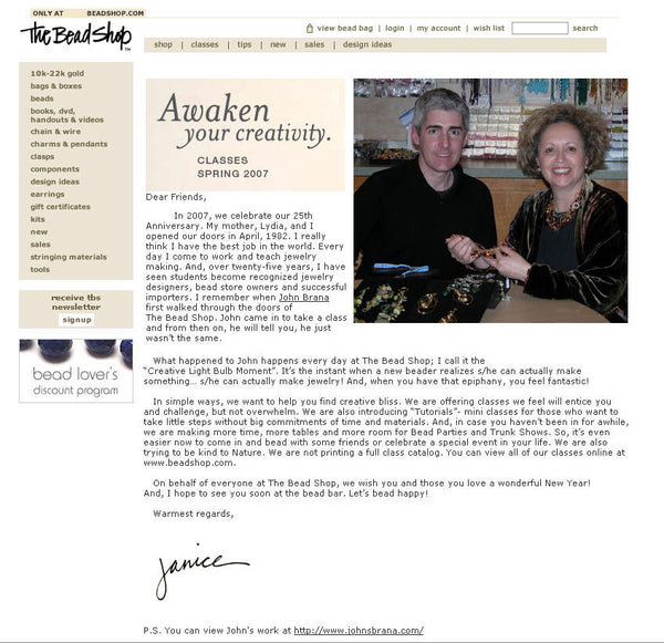 The Bead Shop Features John S. Brana - Distinctive Jewelry