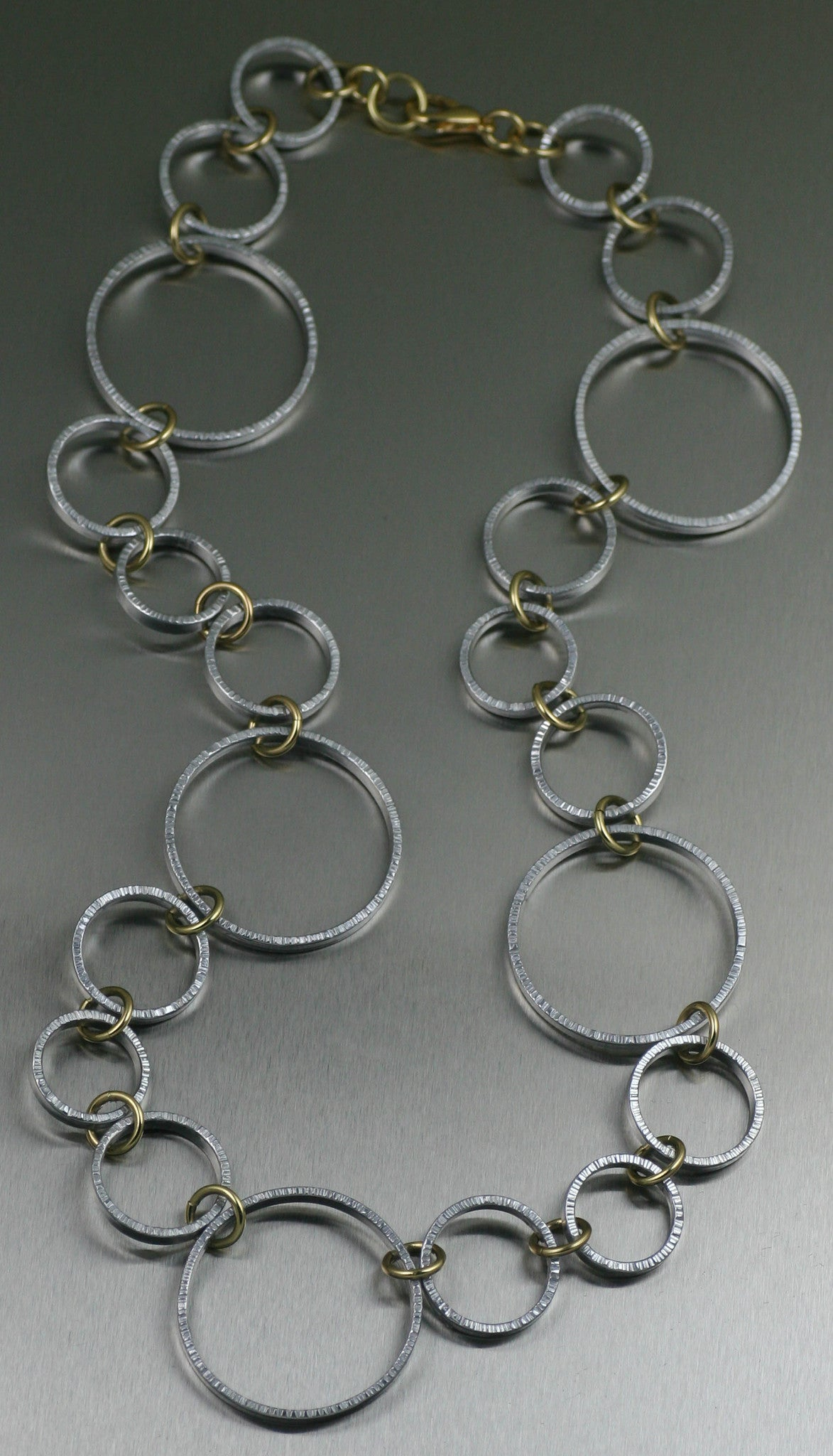 Chased Aluminum Hoop Chain Necklace