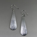 Chased Aluminum Long Tear Drop Earrings