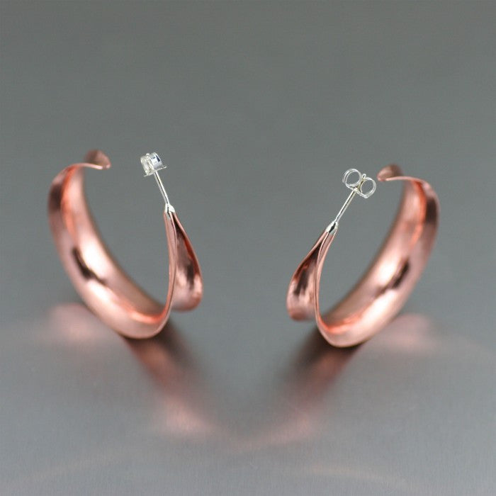 Copper Anticlastic Bark Post Hoop Earrings