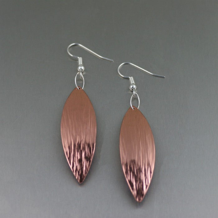 Copper Bark Leaf Drop Earrings
