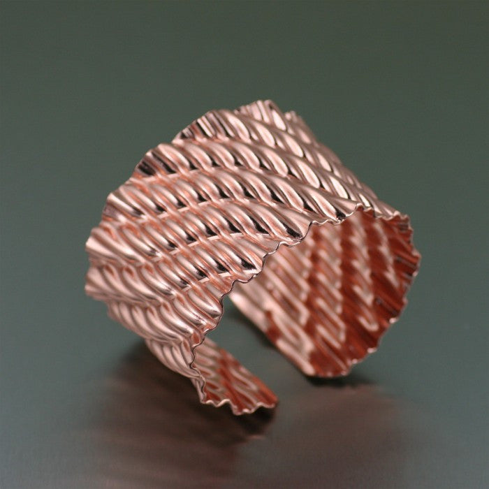 Corrugated Copper Wave Cuff Bracelet