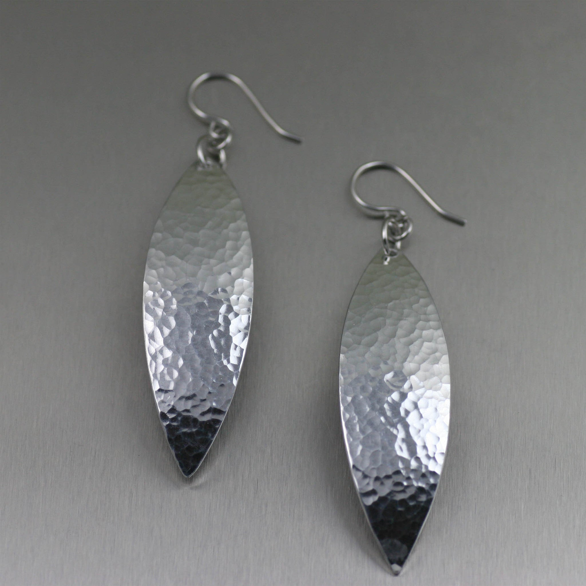 Hammered Aluminum Leaf Earrings