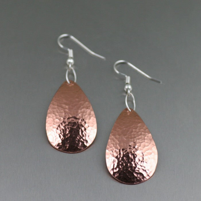 Hammered Copper Tear Drop Earrings