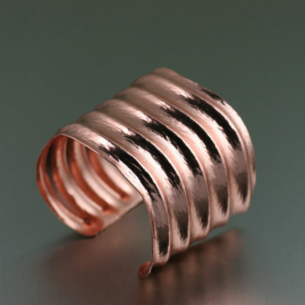 Hammered Copper Wave Cuff Bracelet