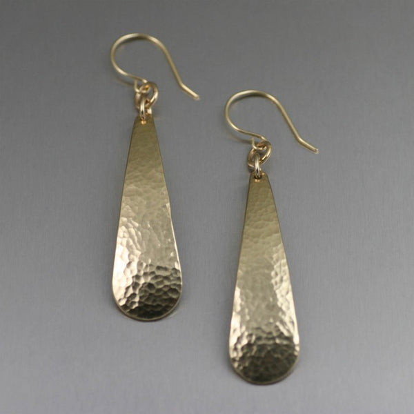Long Hammered Brass Nu Gold Tear Drop Earrings