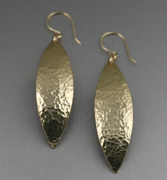 Hammered Nu Gold Brass Leaf Earrings