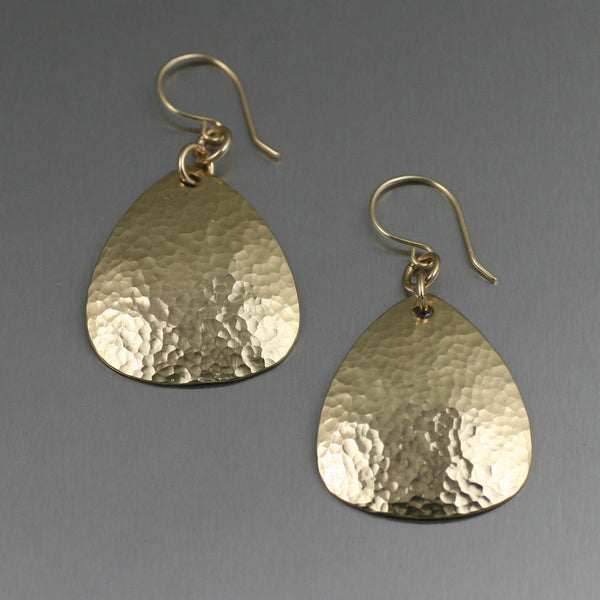Hammered Nu Gold Brass Triangular Drop Earrings