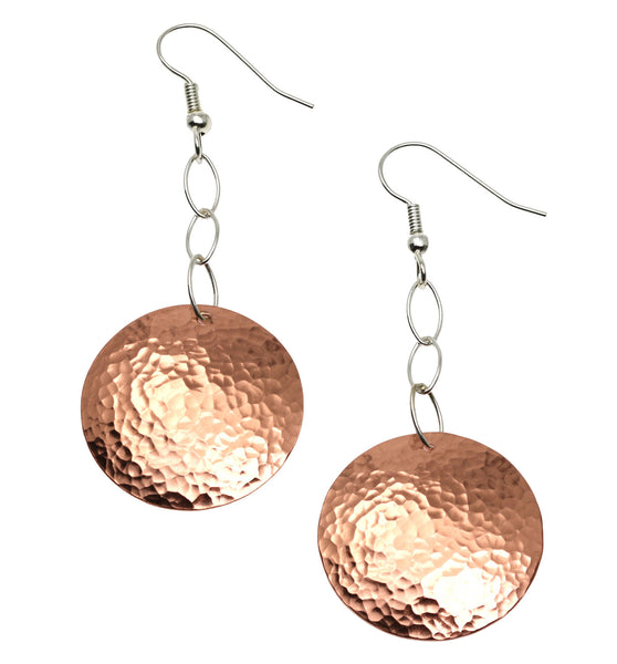 33% Off Hammered Copper Disc Earrings - Deal of the Week