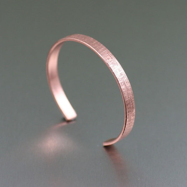 Thin Linen Copper Cuff Bracelet