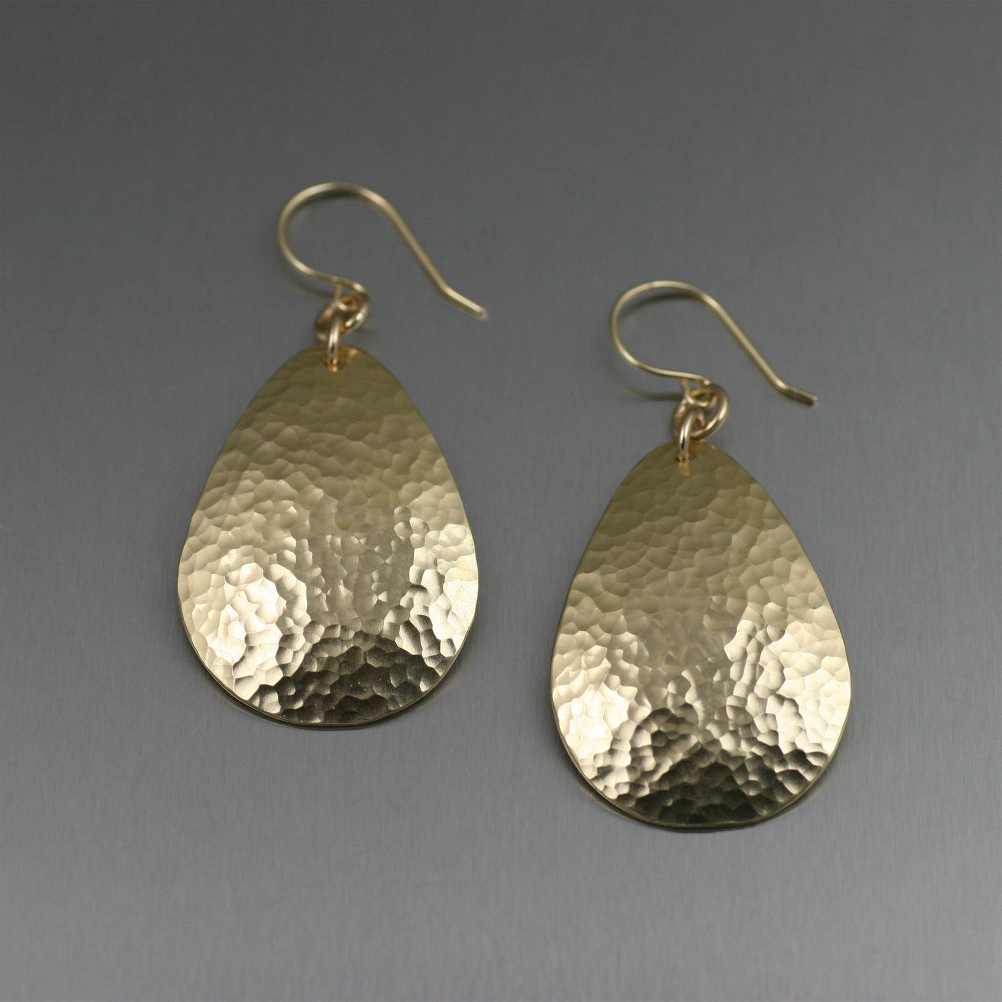 Medium Hammered Nu Gold Brass Tear Drop Earrings
