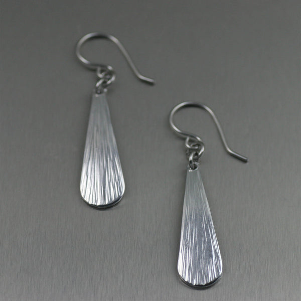 Mini Chased Aluminum Tear Drop Earrings