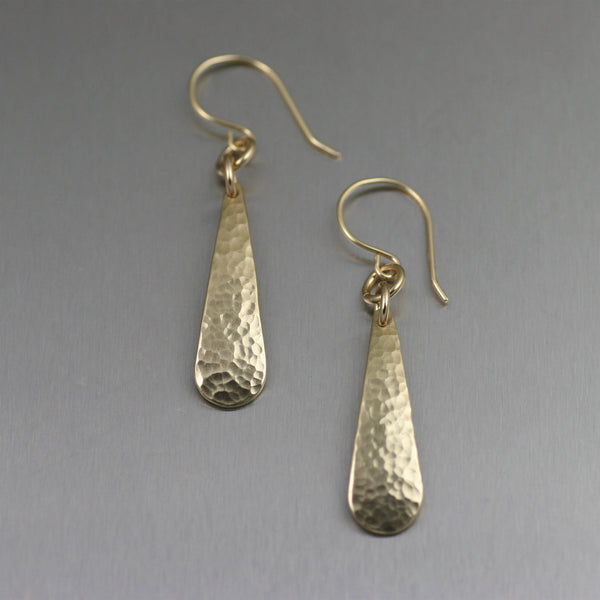 Mini Hammered Nu Gold Brass Tear Drop Earrings