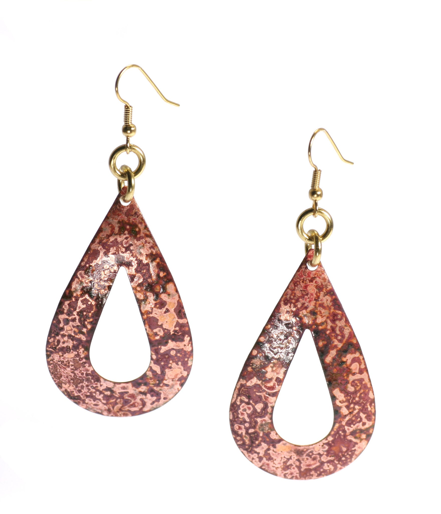 Get Over 30% Off Red Patinated Copper Tear Drop Earrings on Amazon.com!