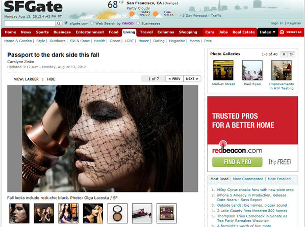 Copper Cuffs Featured by San Francisco Chronicle - The Beauty Issue - Passport to the Dark Side