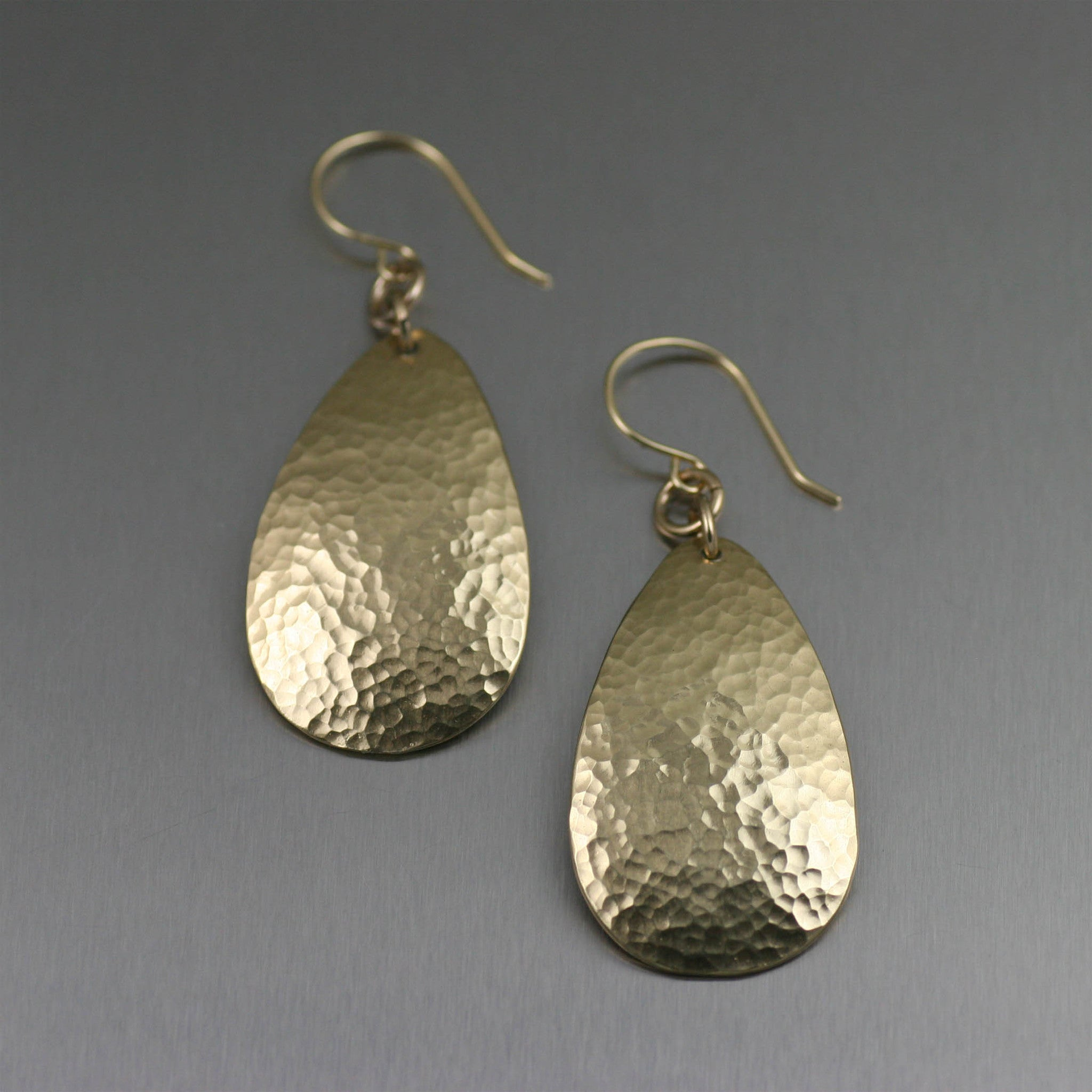 Small Hammered Nu Gold Brass Tear Drop Earrings