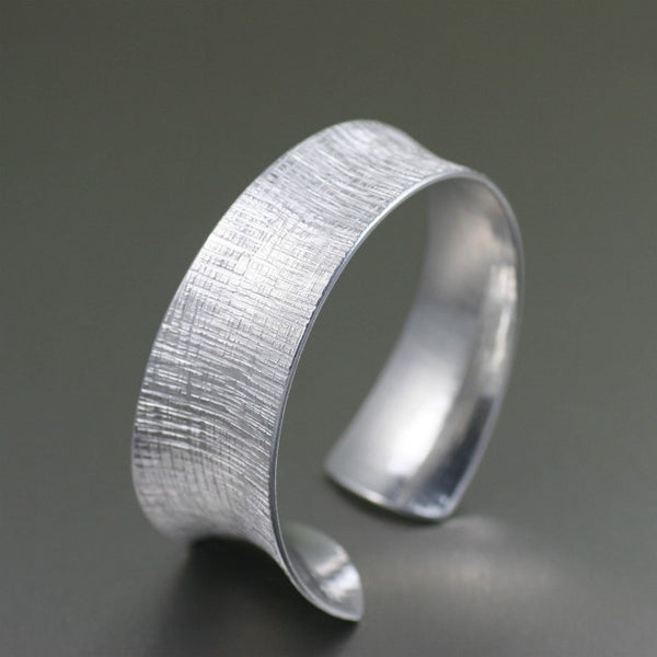 Tapered Linen Anticlastic Aluminum Bangle Bracelet