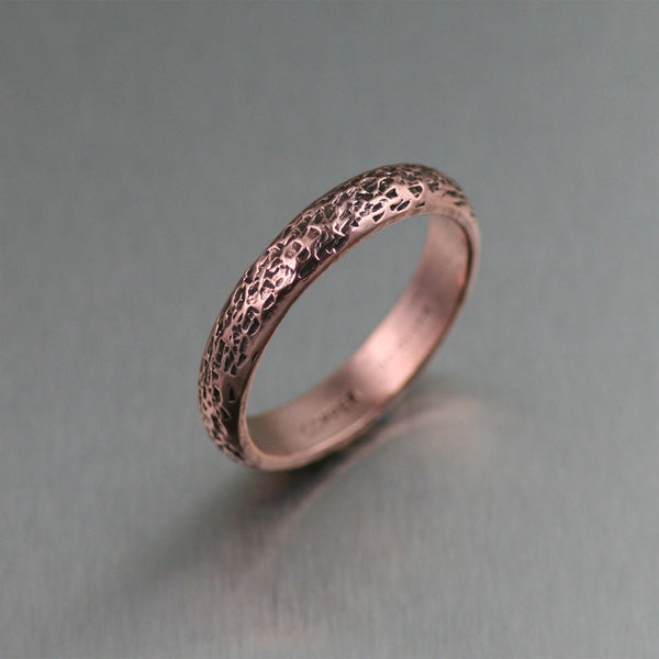 Stackable 4mm Texturized Handmade Copper Band Ring