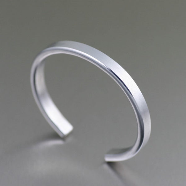 Thin Brushed Aluminum Cuff Bracelet