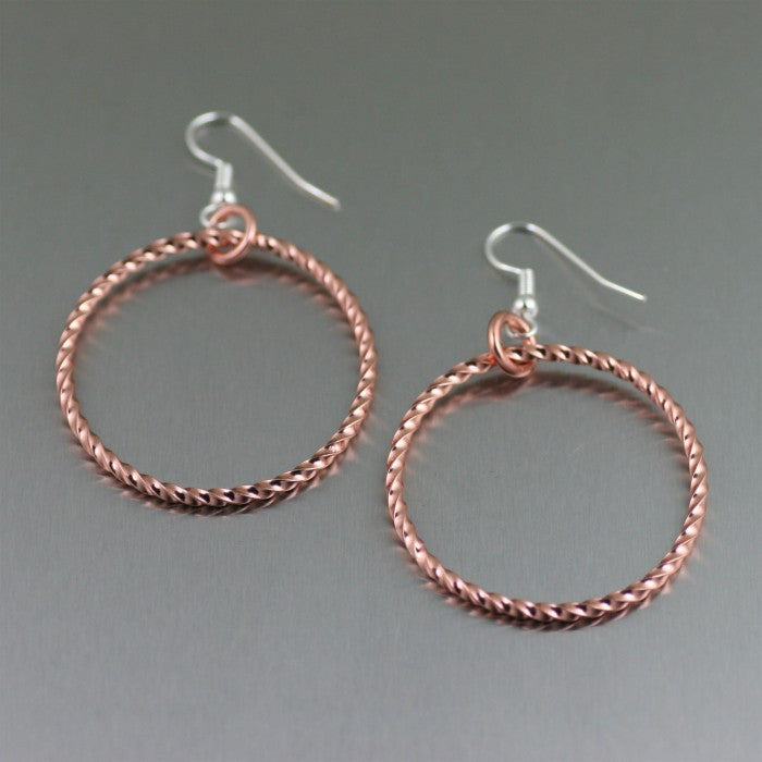 Twisted Copper Cable Hoop Earrings