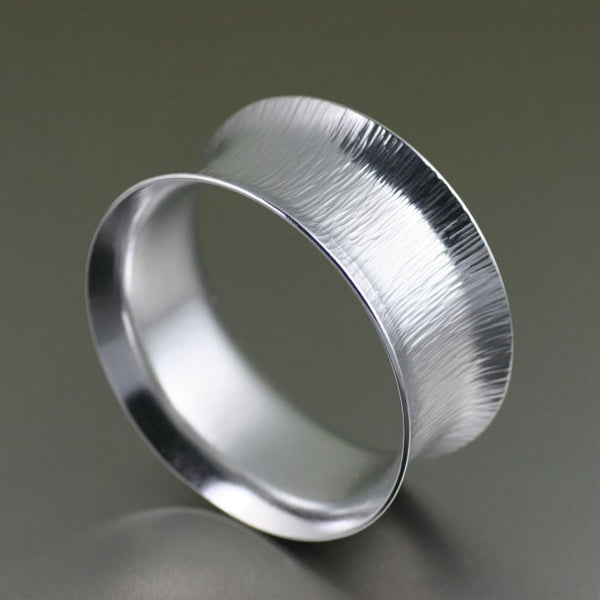 Wide Aluminum Chased Anticlastic Bangle Bracelet