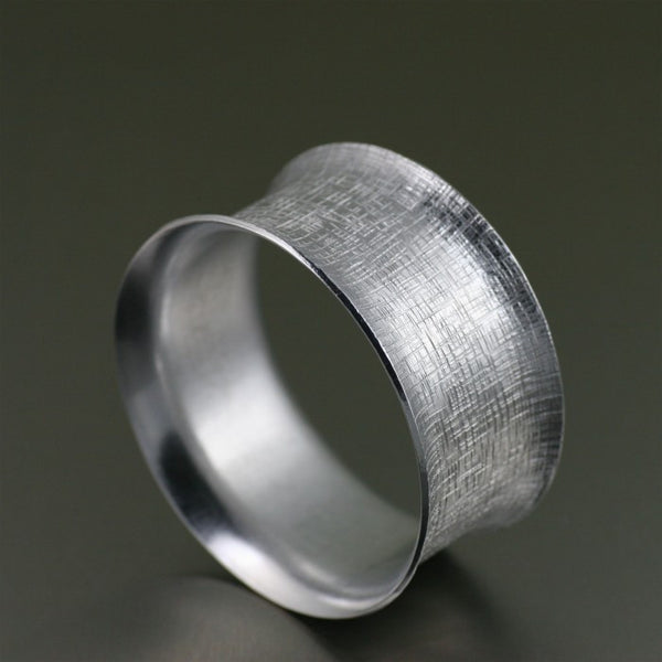 Wide Aluminum Linen Anticlastic Bangle Bracelet