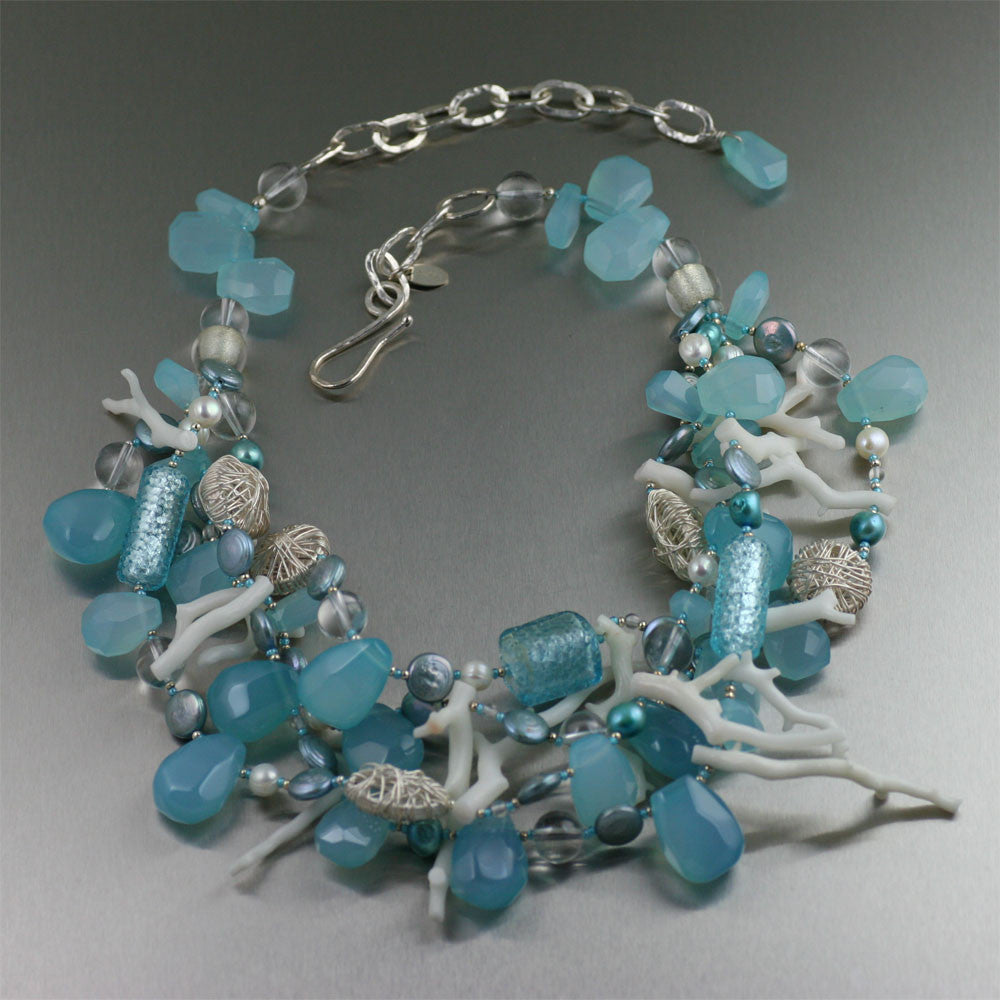 Blue Chalcedony White Coral Necklace