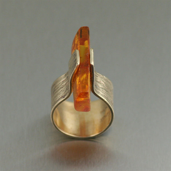 Contemporary Handmade Bronze Ring with Amber