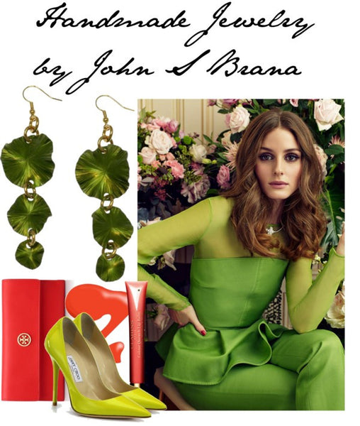 Lime Green Anodized Lily Pad Earrings Featured on Polyvore