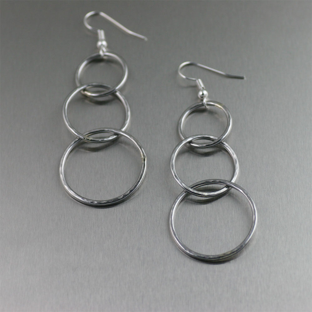 Hammered Aluminum Three Tiered Earrings