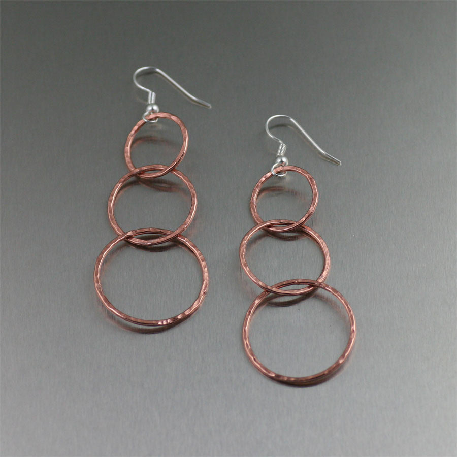 Just Arrived! 60% Off 3-Tiered Dangle Hammered Copper Earrings