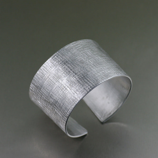 Aluminum Cuff with Linen Texture on Etsy